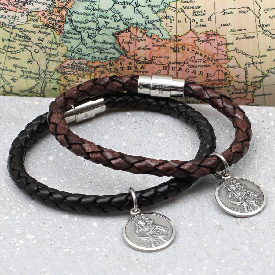 Mens Brown Leather Sterling Silver Saint Christopher Wrap Bracelet Engraved