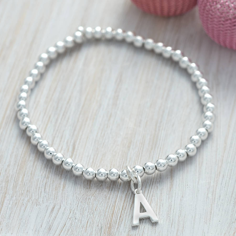 7b227a9427b Personalised Sterling Silver Initial Ball Bracelet   Hurleyburley