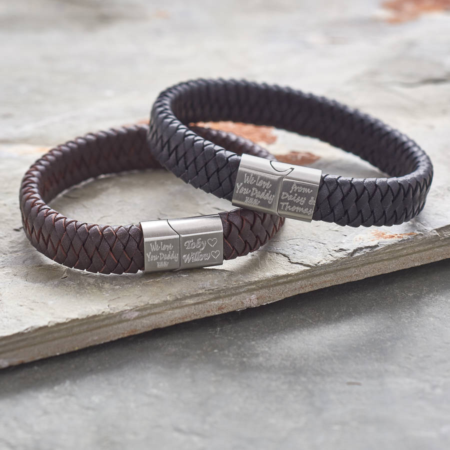 c85646dc8c248 Men's Personalised Brushed Steel And Leather Bracelet | Hurleyburley