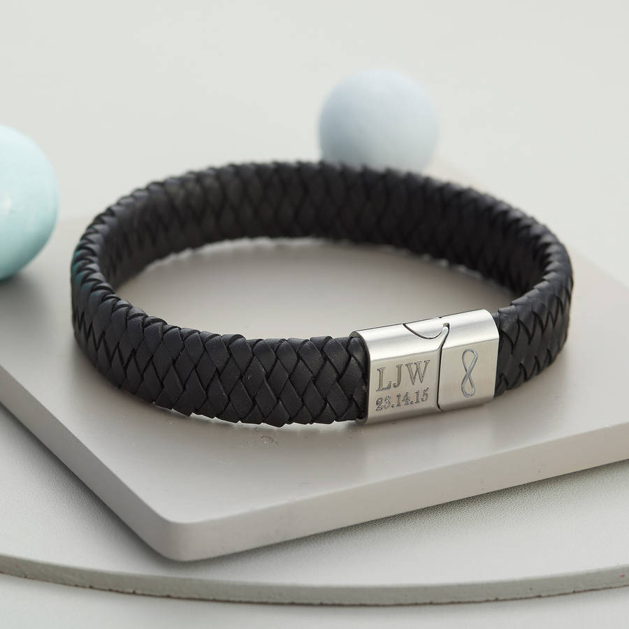 47a2b4f96b7da Men's Personalised Infinity Steel And Leather Bracelet | Hurleyburley