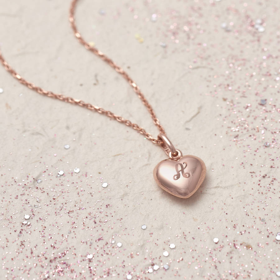 6ca7ea9585c Rose Gold Personalised Initial Heart Charm Necklace   Hurleyburley