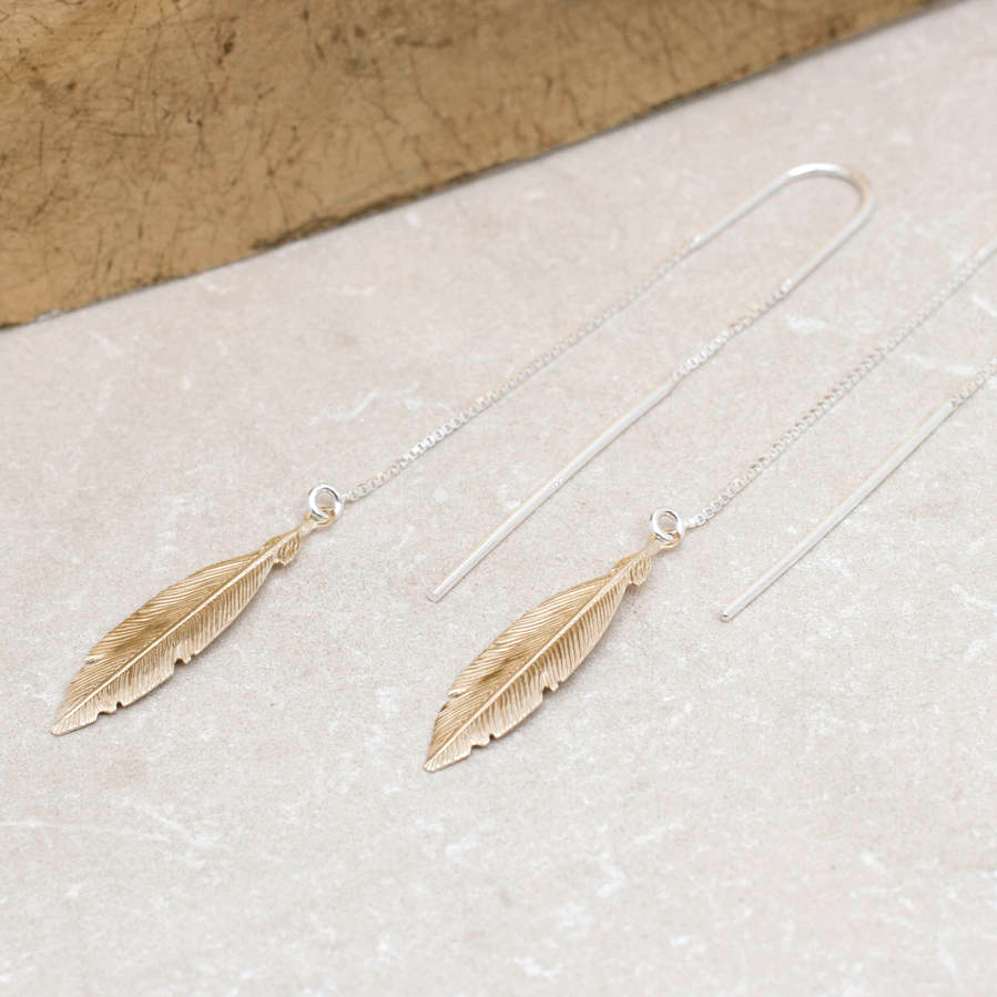 8489b10ce Gold And Sterling Silver Pull Through Feather Earrings | Hurleyburley
