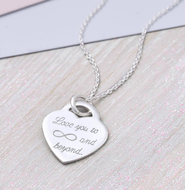 413c395f7027c Personalised Sterling Silver Heart Infinity Necklace | Hurleyburley