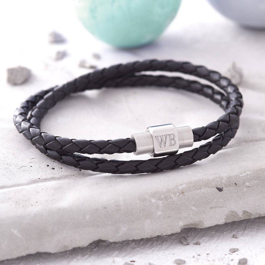 9c93b788882b0 Mens Personalised Clasp Double Leather Bracelet | Hurleyburley