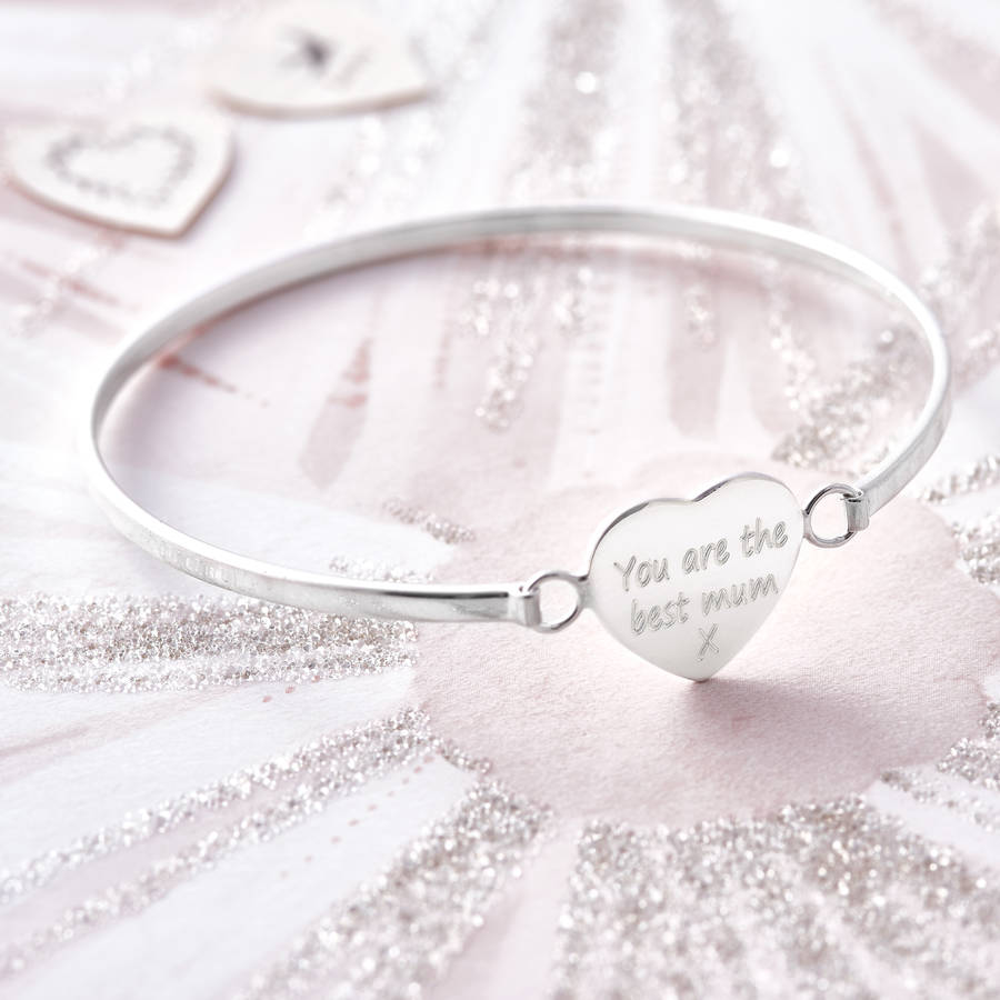 09ec42cde01cf Personalised Sterling Silver Heart Bangle | Hurleyburley