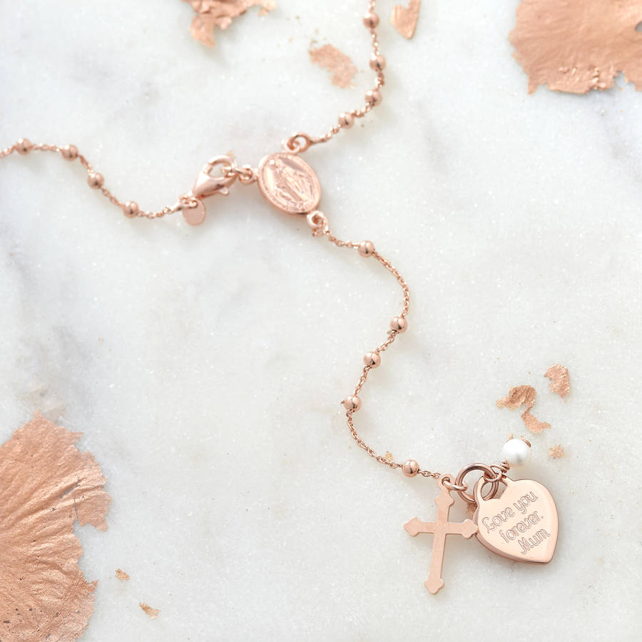 ee1dabe39113a Personalised Rose Gold Or Silver Rosary Necklace | Hurleyburley